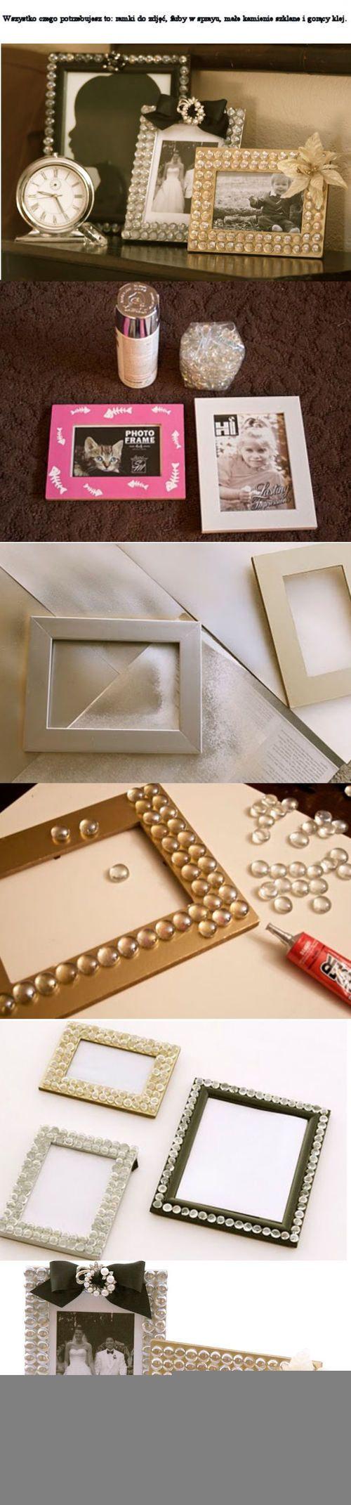marcos de fotos con gotas de silicona o piedras transparentes