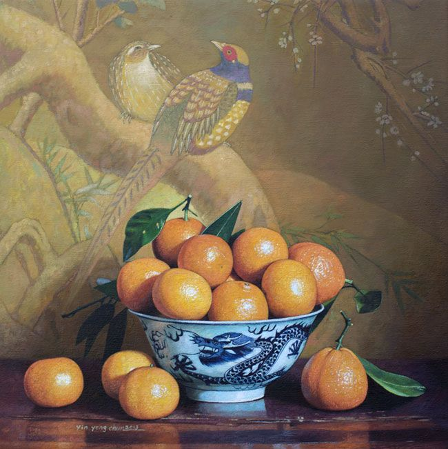 "Yin Yong Chun, Oranges in a Bowl, 2013, oil on canvas, 20 x 20"" at William Baczek Fine Arts www.wbfinearts.com"