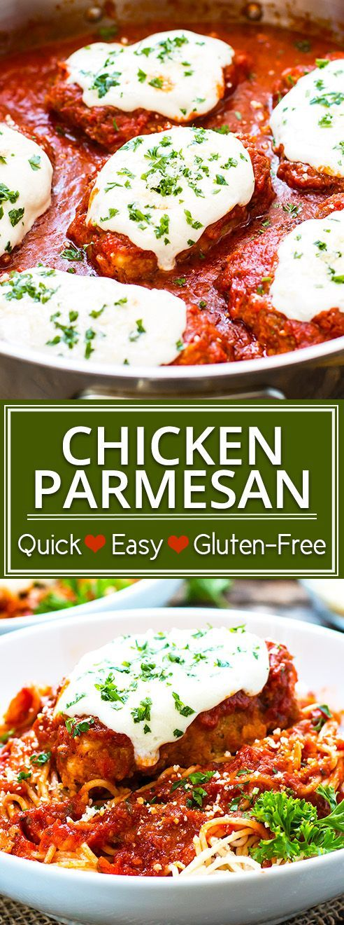 Quick & Easy Gluten-Free Chicken Parmesan | Make your own restaurant quality version of gluten-free chicken Parmesan at home!  You only need a few simple ingredients and 30 minutes to make this simple, gluten-free chicken dinner recipe.