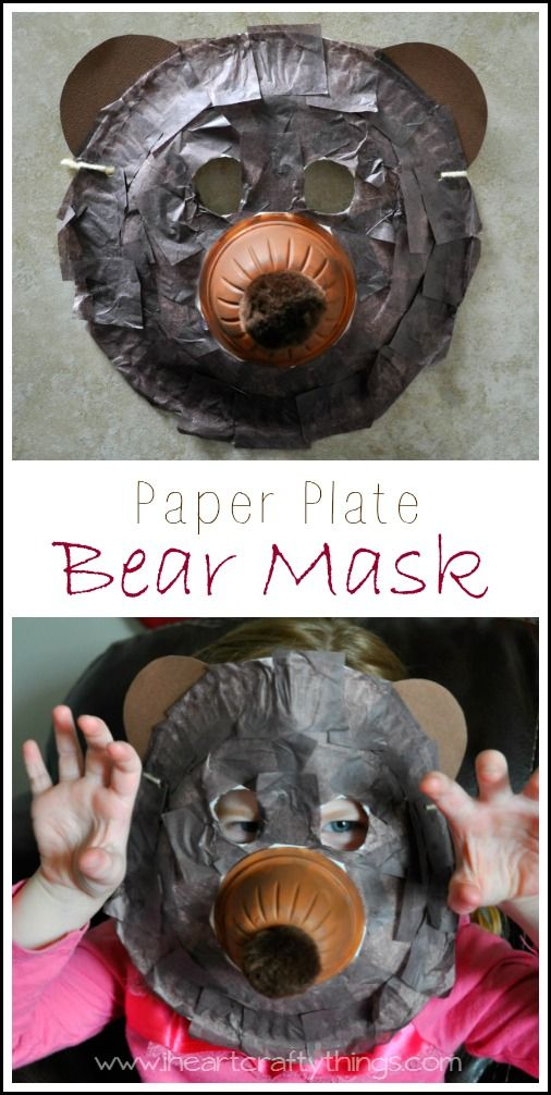 Paper Plate Bear Mask Craft for kids. Kids will love pretending to be a bear in this fun mask. From iheartcraftythings.com