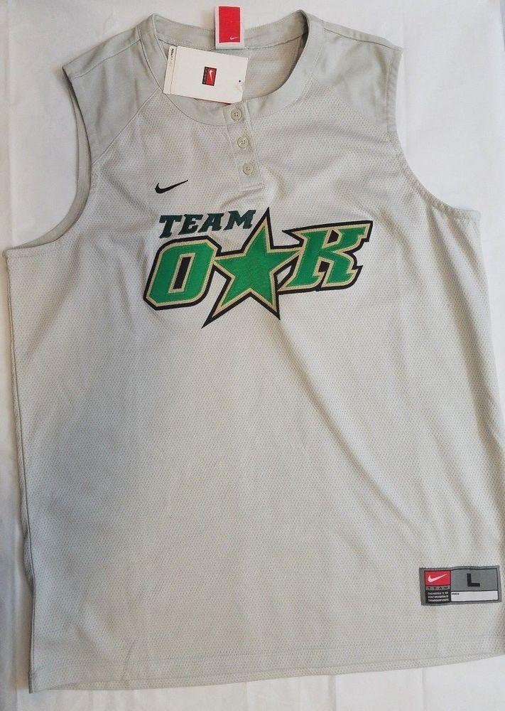 5c9ac7ad4168 Nike Fit Dry Softball Team Oak Womens Jersey Silver Stitched  7 Size Large  12-14  Nike  Jerseys