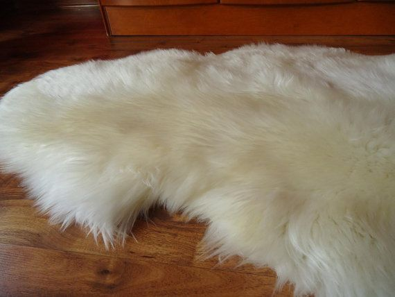 GIANT SHEEPSKIN   White Throw Genuine leather by TrendingSlippers, $59.99