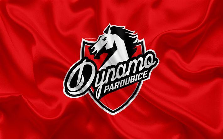 Download wallpapers Pardubice HC, 4k, HC Dynamo Pardubice, Czech hockey club, emblem, logo, Czech Extraliga, silk flag, hockey, Pardubice, Czech Republic