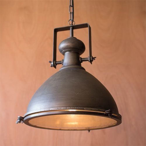 Kalalou Metal One Light Dome Pendant Iii Rustic Kitchen