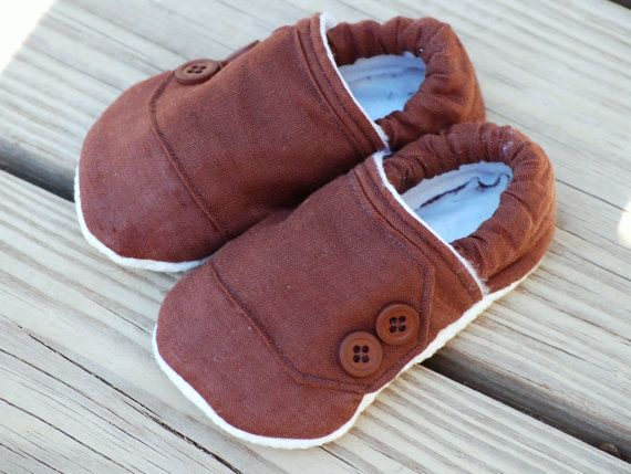 Brown baby booties for little girls and boys