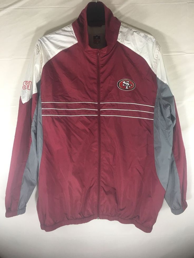 Vintage SAN FRANCISCO NFL 49ers Red White & Gray Zip up Windbreaker Men's Sz XL #NFL #SanFrancisco49ers