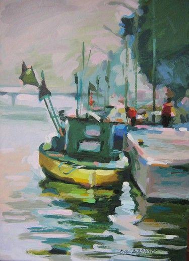 Obraz Przystań, żółta łódź. - Artysta Barbara Gulbinowicz