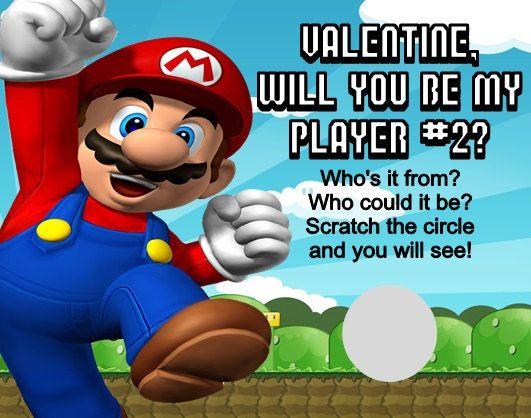 Super Mario Valentines Day Valentine Scratch Off Cards