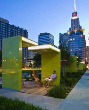 "Main Street Garden Park | Dallas, TX | Thomas Balsley Associates | The park includes an open lawn and performance space, a public art installation of light, a green roof civic canopy, seating areas, tot lot, central plaza, a unique ""urban stream"" sculptural water feature, an urban dog run, illuminated glass study-room shelters, shade structures and lush plantings. An artful light installation will animate the garden room shelters and enhance the Main Street corridor edge throughout the…"