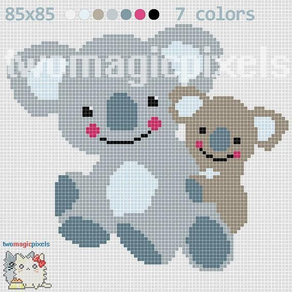 (4) Name: 'Crocheting : Two Koalas C2C Graph