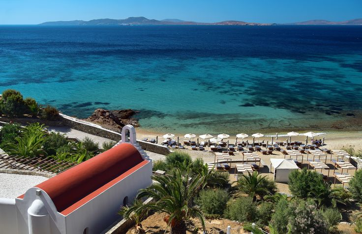 Mykonos Grand Hotel Beach with new sunchairs and daybeds