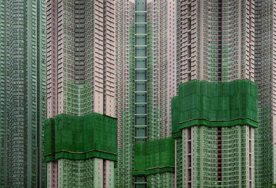 "in Michael Wolf's ""Architecture of Density"" series he documents the complex urban dynamics of Hong Kong,"