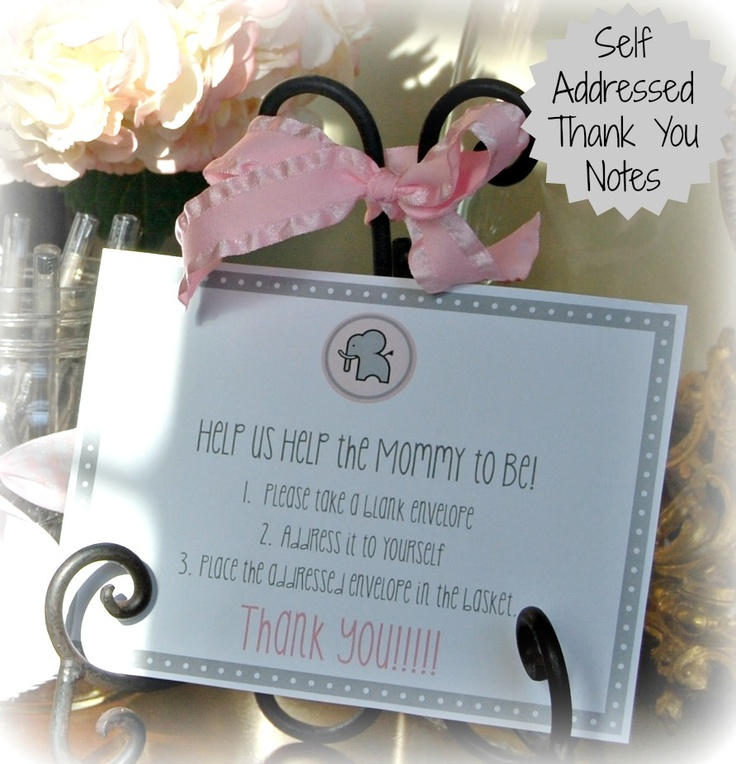 Self Addressed Thank You Notes For Baby Or Bridal Shower Have Guests Fill Out Their Address On