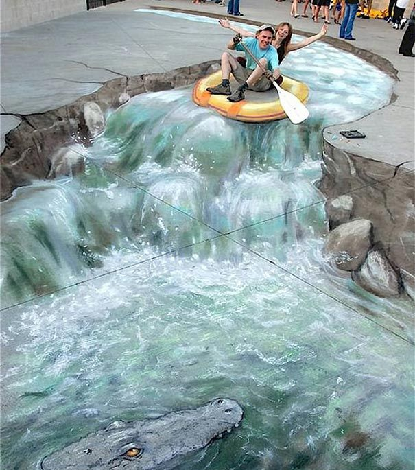 Стрит-арт на асфальте. 3D изображения на стенах и дорогах #Streetart