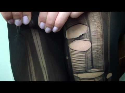 perfect tutorial on how to make ripped stockings