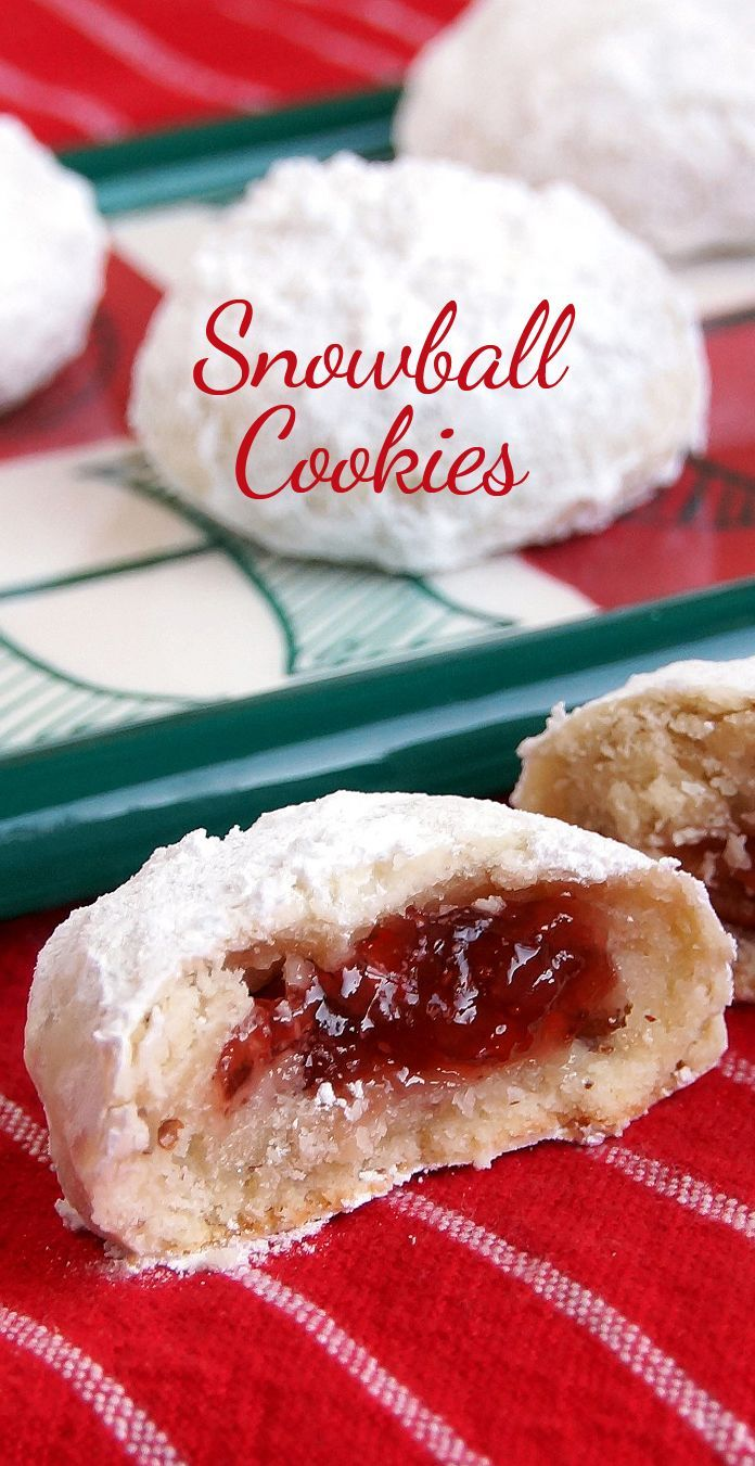 Jam-Filled Snowball Cookies. These are sweet and flaky with a delicious surprise in the middle! Strawberry Jam is a favorite, but any filling will work.