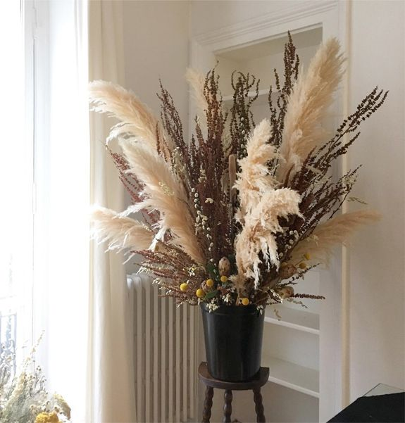Fall Dried Floral Arrangement With Pampas Grass Sfgirlbybay