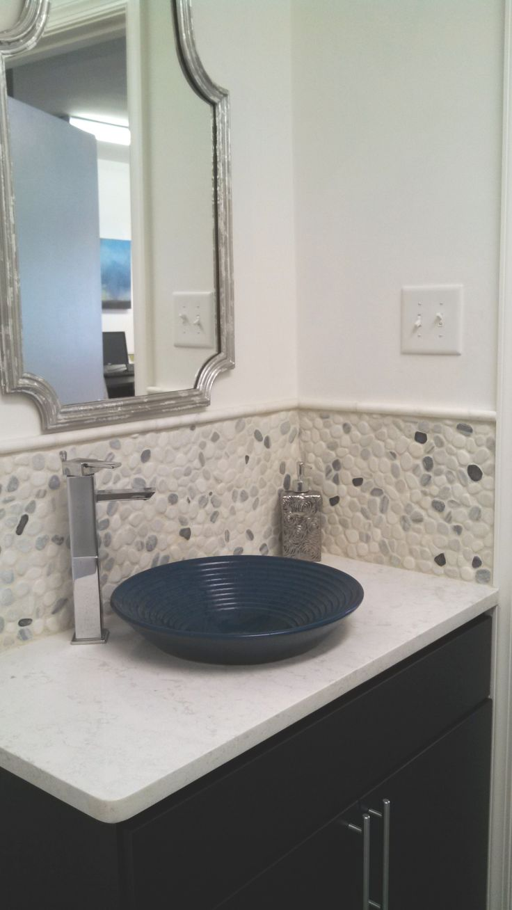 Pebble Tile Wallsplash With Carrara Marble Pencil Tiles