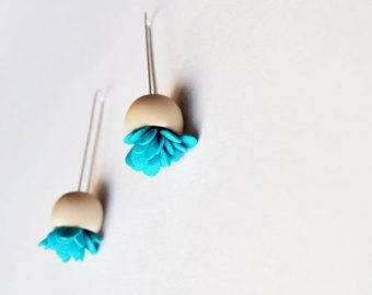 minimal abstracted organic cute earrings ''Grey pods with от eried