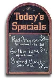 Today's Specials | Wood | Sign | Bar | Restaurant | A Simpler Time
