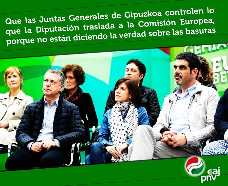 """Izaskun Bilbao: """"Que las Juntas Generales de Gipuzkoa controlen lo que la Diputación traslada a la Comisión Europea, porque no están diciendo la verdad sobre las basuras""""."""