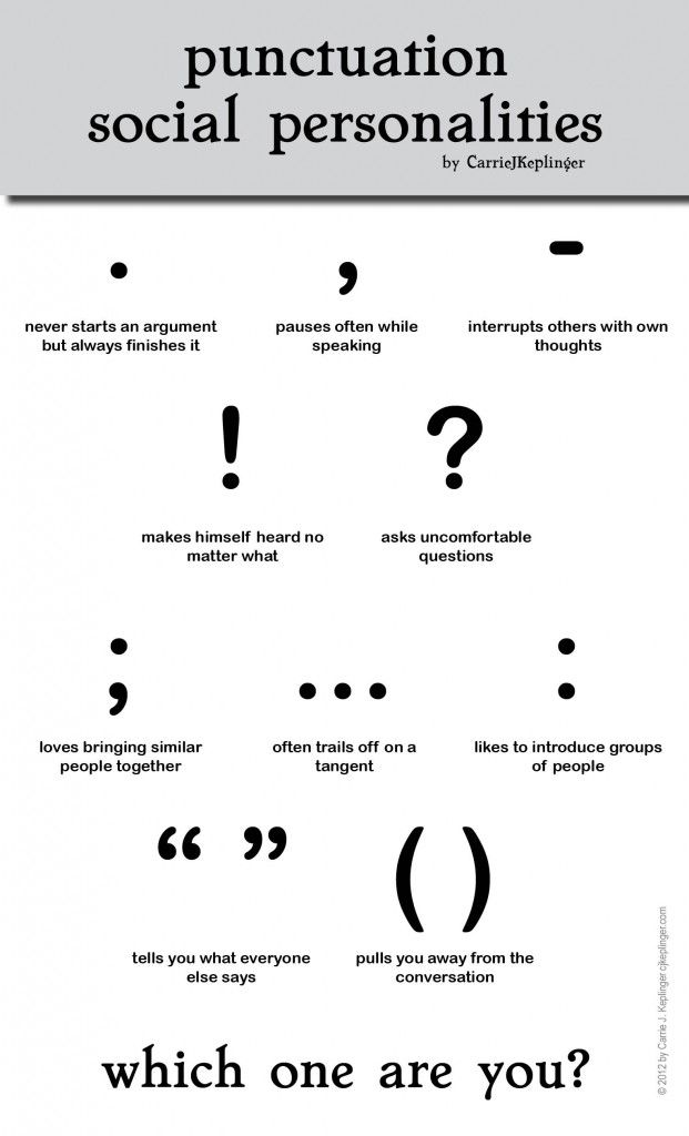 Punctuation personalities...just a fun poster. Maybe it could help as a memory trick when teaching students to remember the functions of each punctuation mark?