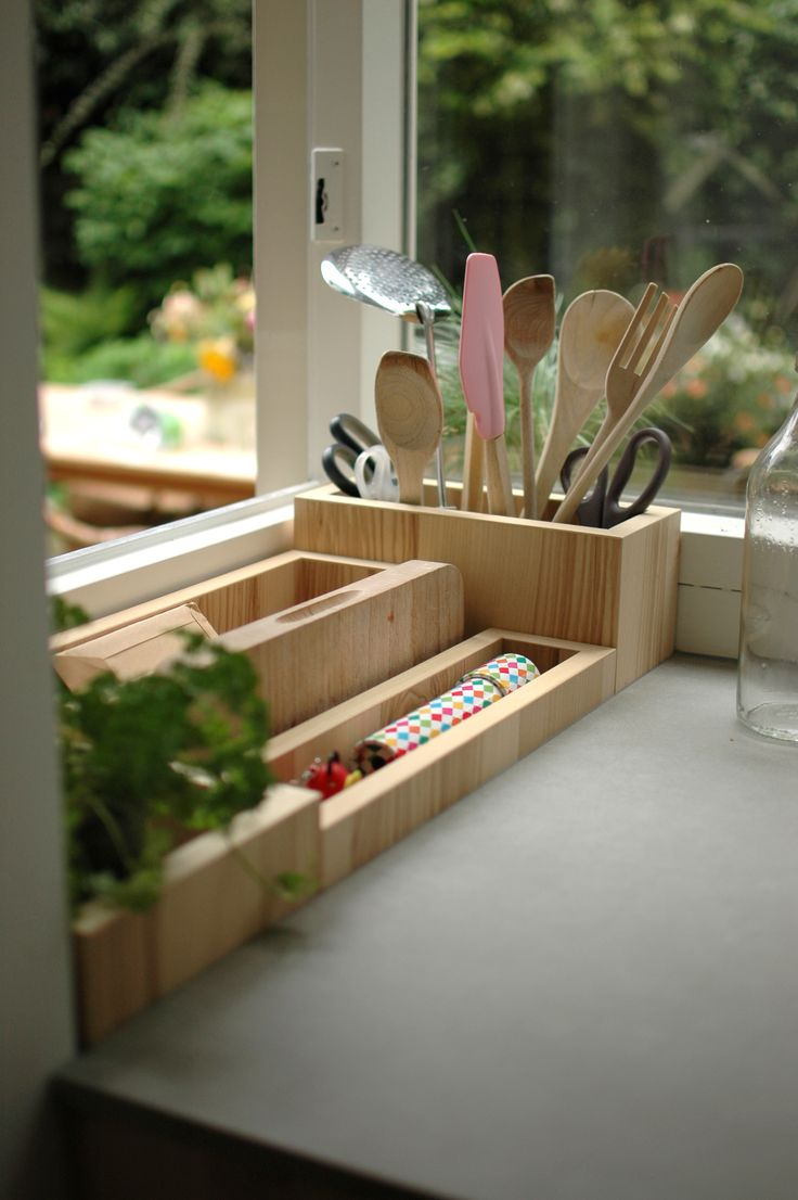 cutting board, containers