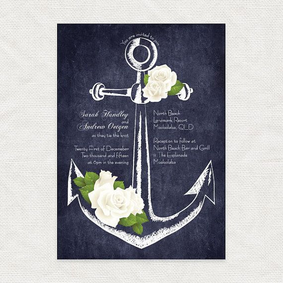 anchor printable wedding invitation digital by idoityourself