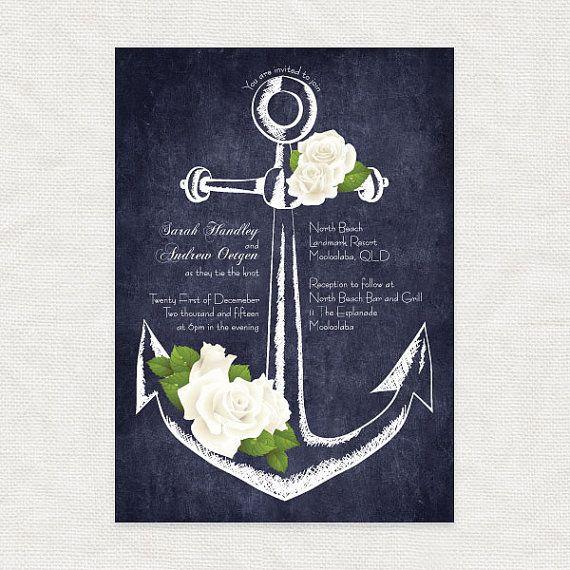 Anker druckbare Hochzeitseinladung digitale Tafel nautische floral Rosen Brautdusche laden moderne diy Briefpapier Anker Weg Brauch