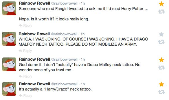 Rainbow Rowell is just the most amazing person on the face of the planet. She is too perfect.