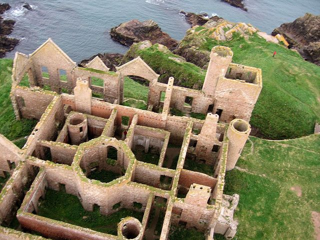 Slains Castle, Grampian, Scotland - a ruined castle near Cruden Bay in Aberdeenshire, Scotland, overlooking the North Sea.  The huge ruin of New Slains Castle stands perched atop tall, sea-facing cliffs. The castle was constructed around an existing tower house in 1597.