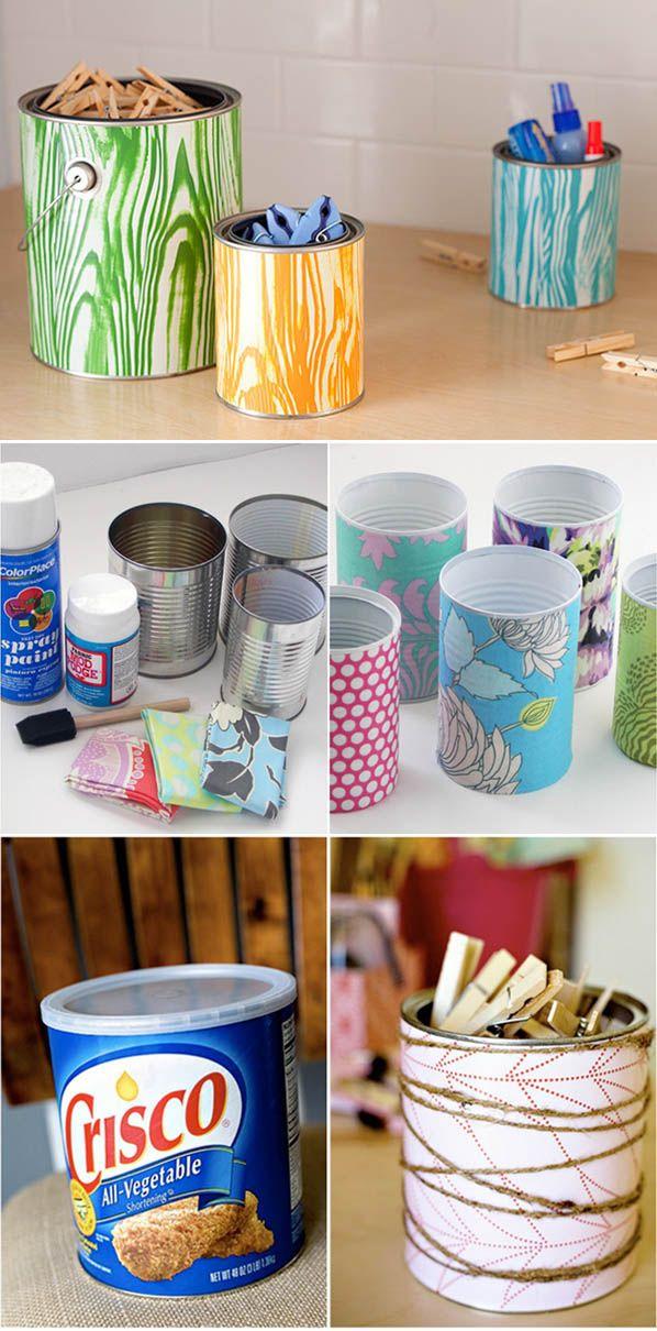 Soluciones de almacenaje con latas recicladas