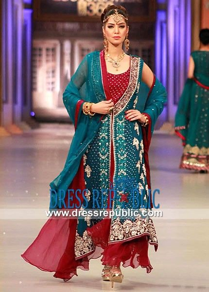 Blue-Green n Royal Red Double Layered Dress Party Dress PFDC 2013