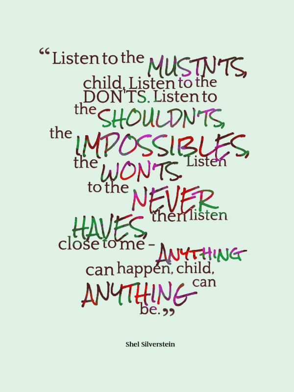Listen to the Mustn'ts -Shel Silverstein | Inspiration and ...