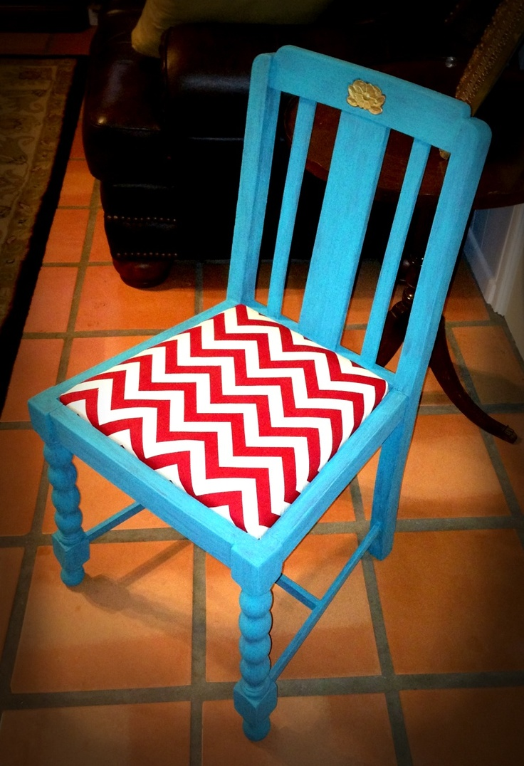Tables amp chairs children s boxborough library library interiors - Turquoise Painted Chair W Red Chevron Cushion