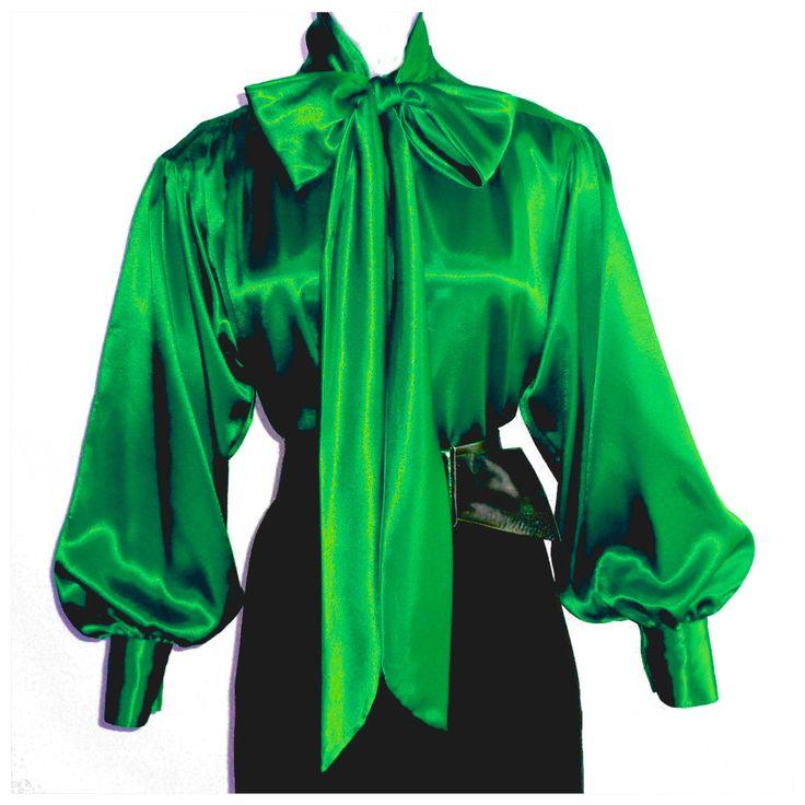 EMERALD GREEN Shiny LIQUID SATIN High Neck BOW BLOUSE vtg top S M L 1X 2X 3X #tamarstreasures #Blouse #EveningOccasion