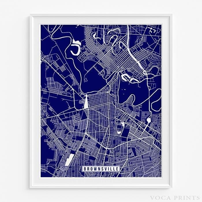 Map Of United States Showing Arizona%0A BROWNSVILLE  TEXAS Street Map Wall Art Poster  Starting at       with     color choices