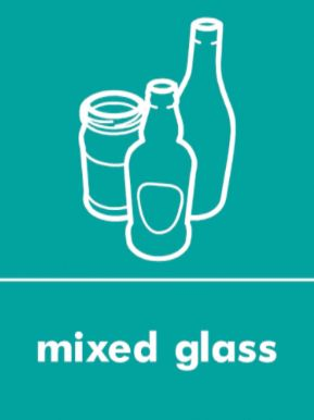 Mixed glass waste recycling sign