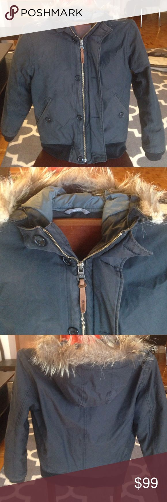 Men's Medium Aigle Parka in Charcoal This down coat is in excellent condition! It has; removable faux fur trimmed hood, zipper and button closures, 2 pockets on outside as well as 2 inside zipper pockets. Perfect winter Parka! Aigle Jackets & Coats