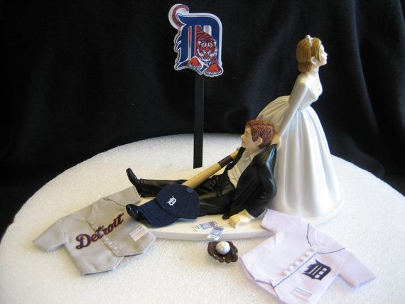I wonder if they have one for the Dolphins!!!! this would be perfect for Steve.... -- Detroit Tigers BASEBALL Wedding Cake Topper Groom by finsnhorns, $46.95