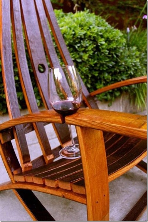 wine-holding chair. now that is neat.: Adirondack Chairs, Idea, Rocks Chairs, Wine Barrels, Outdoor Chairs, Wine Holders, Wine Glasses, Glasses Holders, Wineglass