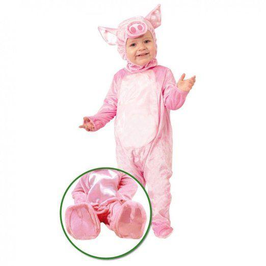 Baby Kostüm Ferkelchen Overall rosa Schwein Kinderfasching Schweinchen (74/80)