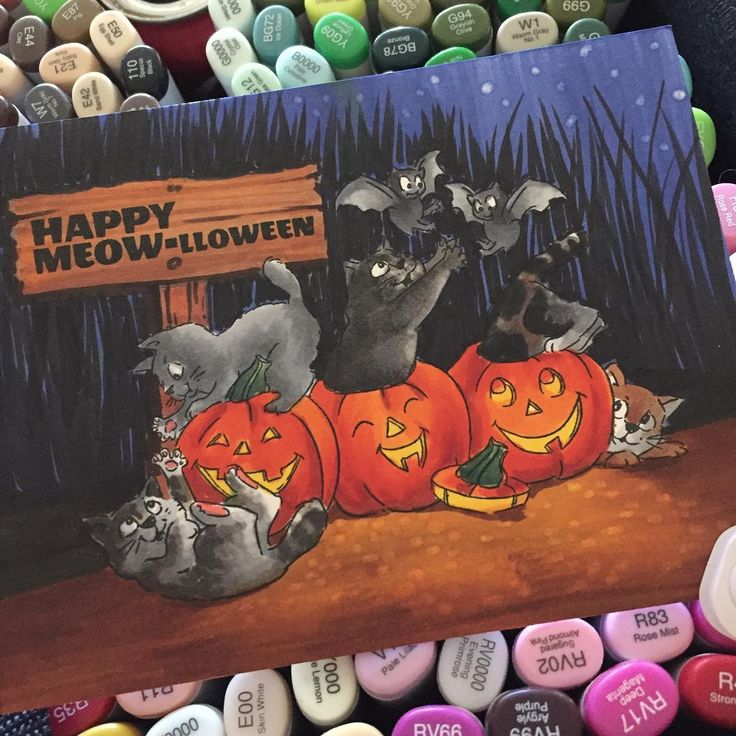 Happy Meow-loween!! Stamp by @artimpressions , crazy coloring by me.
