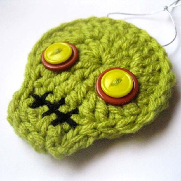 Yellow Eye Zombie Crochet Skull Ornament - Halloween Decorations by Julian Bean