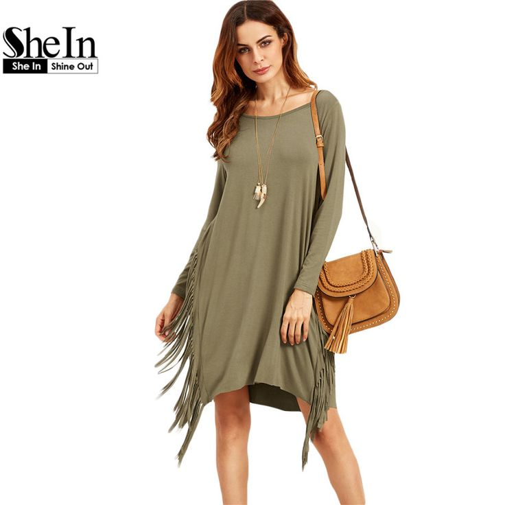 SheIn Women Plain Olive Green Long Sleeve Fringe Straight Dresses Ladies Autumn Scoop Neck Casual T shirt Dress-in Dresses from Women's Clothing & Accessories on Aliexpress.com | Alibaba Group