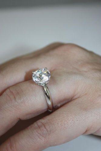 2.00 CT Diamante Redondo F VS1 solitario anillo de compromiso boda de oro blanco 14K N