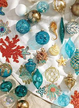 Add colorful, coastal character to your Christmas tree this year with the 60-pc. Coastal Cool Ornament Collection that features stunning hues of turquoise, translucent sea glass and whimsical pieces like seahorses and coral.
