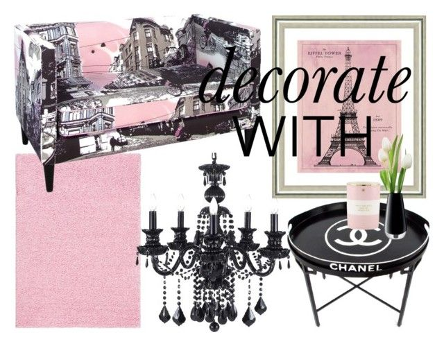 """Chanel in Skyline & Pink"" by tanyaprinsloo09 on Polyvore featuring interior, interiors, interior design, home, home decor, interior decorating, Skyline, Vintage Print Gallery, Chanel and Kate Spade"