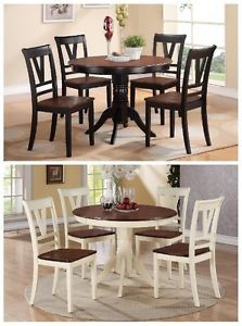 a 5pcs contemporary cherry black cherry white finish round dining table set