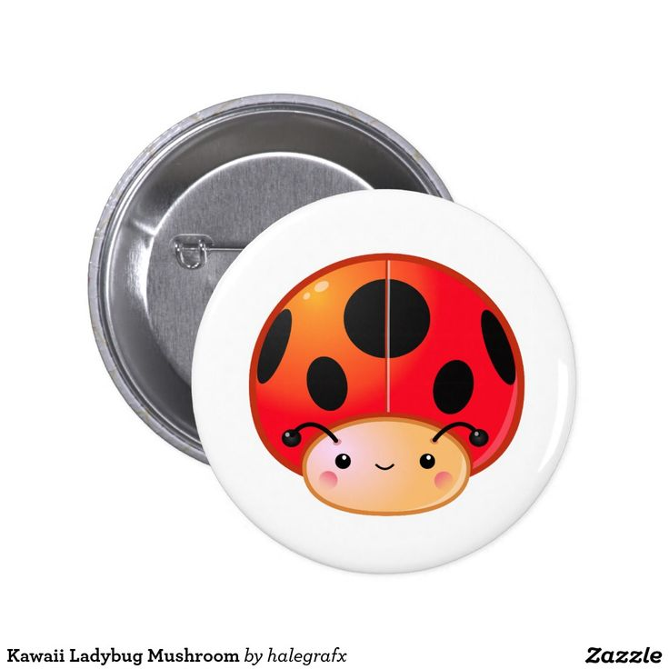 Kawaii Ladybug Mushroom Pinback Button. Producto disponible en tienda Zazzle. Product available in Zazzle store. Regalos, Gifts. Link to product: http://www.zazzle.com/kawaii_ladybug_mushroom_pinback_button-145103540121532820?design.areas=[round_button_225_front]&CMPN=shareicon&lang=en&social=true&rf=238167879144476949 #chapa #button
